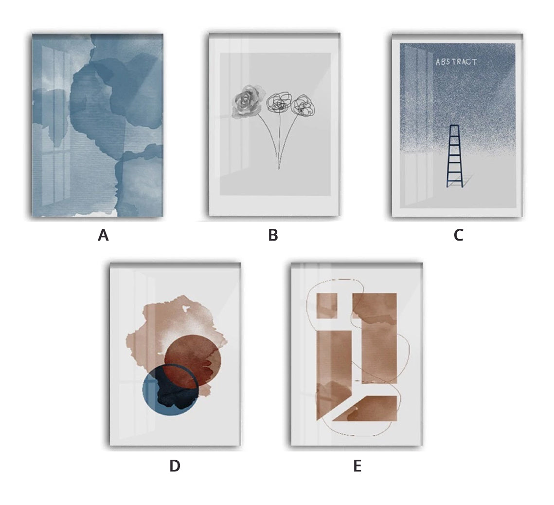 Modern Nordic Watercolor Gallery Wall Art Abstract Elements Subdued Colors Blue Skies Line Art Floral Sketch Pictures For Modern Home Decor