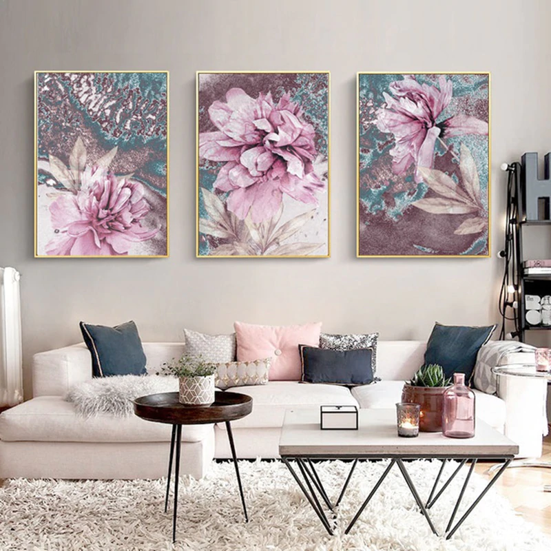 Modern Pink Abstract Floral Wall Art Pictures Fine Art Canvas Prints Flower Posters For Living Room Home Interior Bedroom Wall Decoration