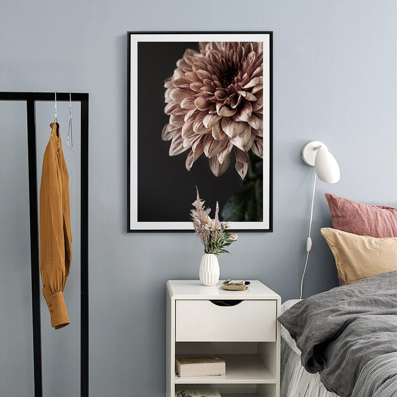Modern Pink Dahlia Floral Canvas Paintings Print Poster Gallery Wall Art Pictures Interior Bedroom Living Room Home Decor