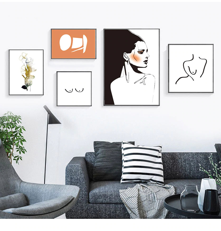 Modern Retro Abstract Fashion Prints Gallery Wall Art Nordic Style Fine Art Canvas Prints Salon Art For Modern Boutique Bedroom Home Interior Decor