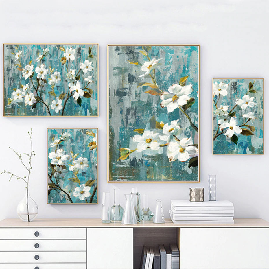 Modern Rustic Floral Wall Art White Apple Blossom Fine Art Canvas Prints Paintings For Living Room Bedroom Bathroom Jade Gold White Home Decor