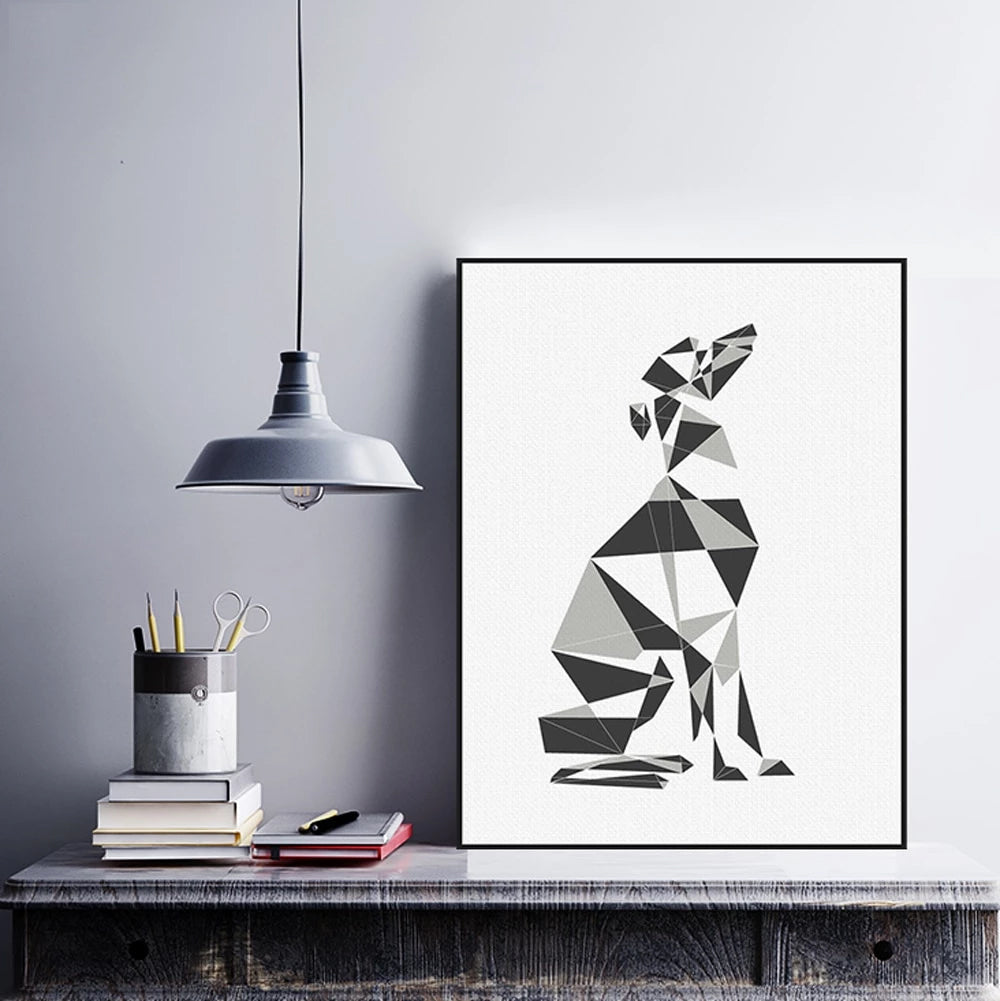 Modern Scandinavian Geometric Dog Wall Poster Art Fine Art Canvas Prints Nordic Minimalist Style Pictures For Dog Lovers Living Room Wall Home Decor