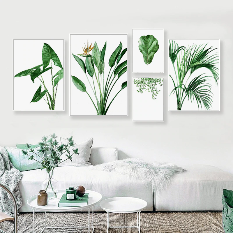 Modern Scandinavian Green Leaves Wall Art Tropical Botany Watercolor Fine Art Canvas Prints Minimalist Abstract Floral Nordic Pictures For Modern Home Decor