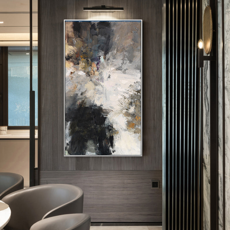 Modern Urban Abstract Wall Art Neutral Colors Cream Beige Brown Black Fine Art Canvas Prints Contemporary Paintings For Modern Loft Interior Decor