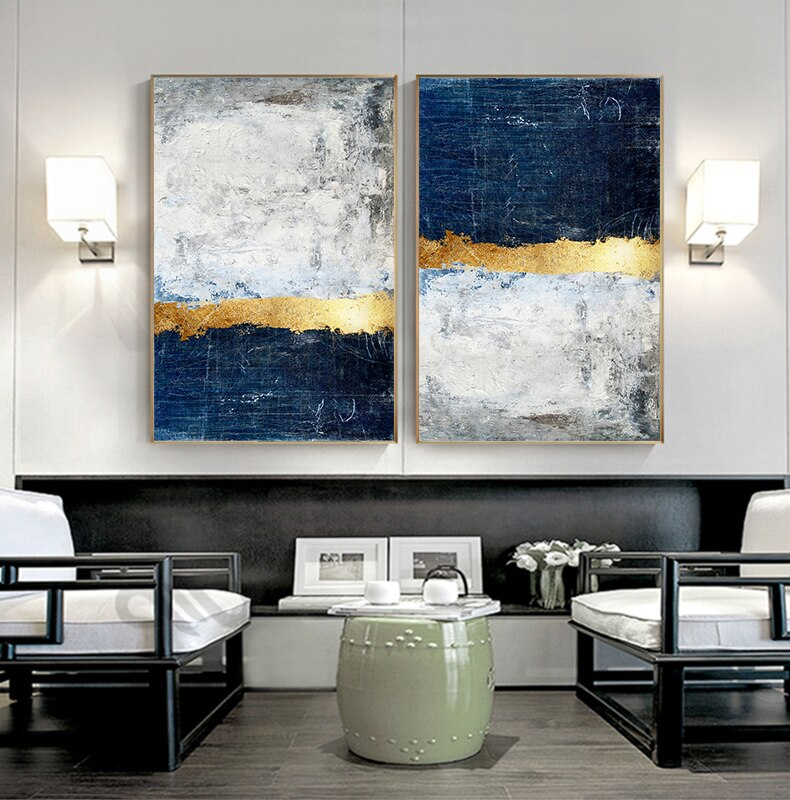 Modern Vintage Abstract Wall Art Golden Blue Gray Block Contemporary Fine Art Canvas Prints Luxury Home Office Wall Art Decor