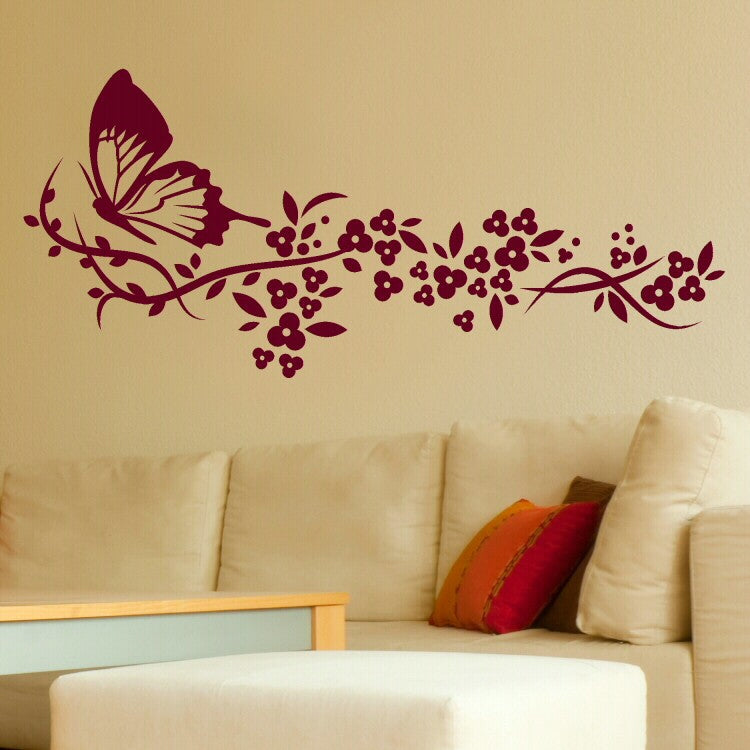 Modern White Elegant Butterfly Wings Floral Wall Art Removable Vinyl Decals for Living Room Bedroom Home Decoration