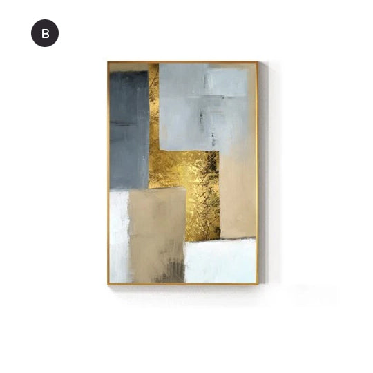 Modern White Gray Blue Golden Block Abstract Wall Art Fine Art Canvas Prints Pictures For Modern Living Room Loft Apartment Home Office Interior Decor