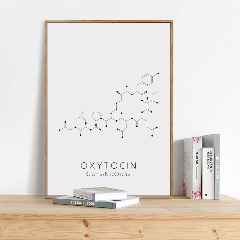 Molecular Biology Happy Hormones Wall Art Fine Art Canvas Prints Black White Minimalist Chemistry Posters For Promoting Happiness Pleasure And Relaxation