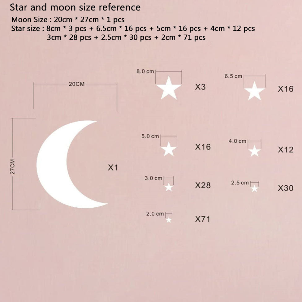 Moon And Stars Wall Decals Removable PVC Vinyl Wall Stickers For Kids Room Babys Room Simple Creative DIY Home Decor Nordic Style Nursery Wall Decoration