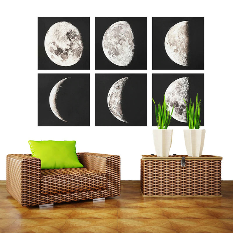 Moon Phases Wall Art Classic Sky At Night Astronomy Paintings Lunar Posters For Modern Home Decor Living Room Bedroom or Office