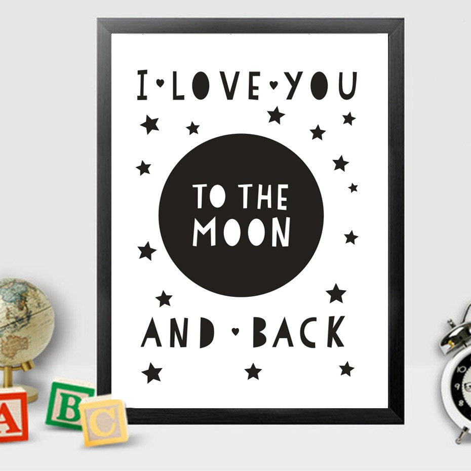 Moon and Stars I Love You to the Moon and Back Black and White Love Quote Nordic Wall Art Canvas Poster For Modern Home Decor