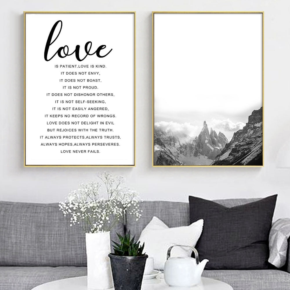 Mountain Landscape Nordic Poster Motivational Love Quote Black White Wall Art Canvas Print Painting Wall Picture for Living Room