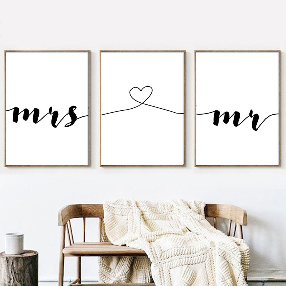 Mr & Mrs Love Heart Wall Art Simple Minimalist Quote Fine Art Canvas Prints Black White Nordic Style Pictures For Living Room Lovers Bedroom Home Decor