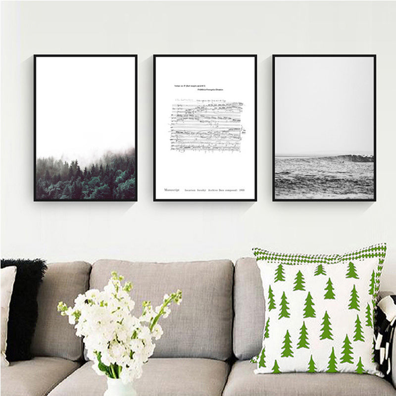 Music Art Landscape Canvas Art Posters Chopin Music Forest and Sea Modern Nordic Prints Paintings For Living Room Dining Room Decor