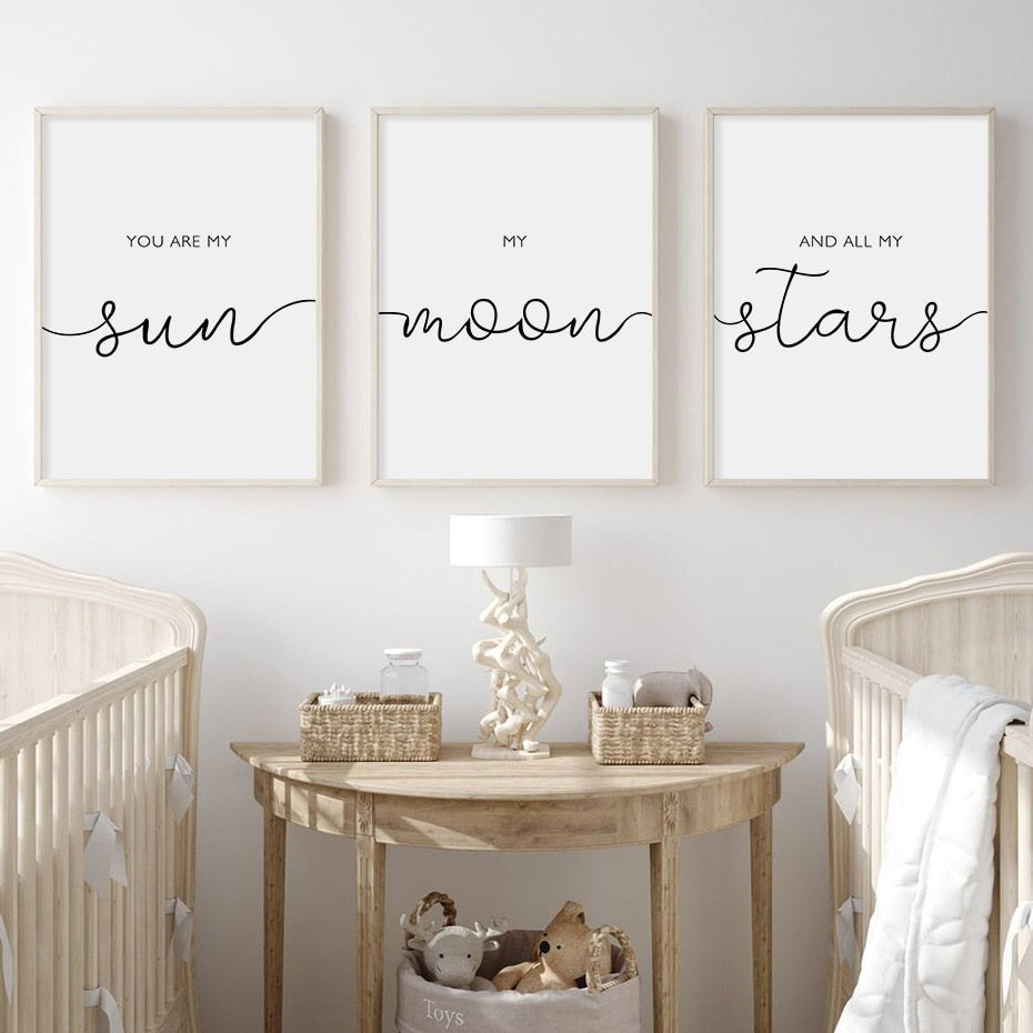 My Sun My Moon My Stars Quote Wall Art Fine Art Canvas Prints Black White Minimalist Nordic Style Pictures For Living Room Bedroom Wall Art Decor