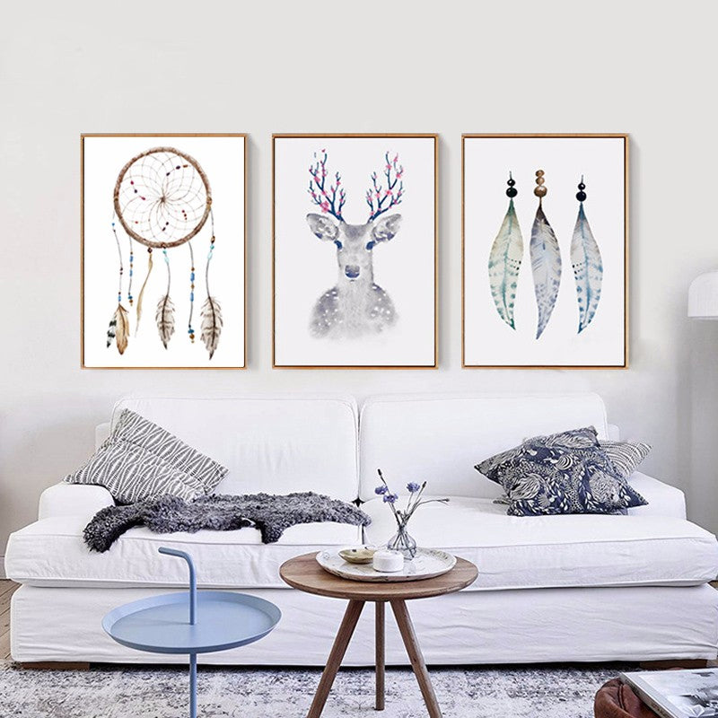 Mystical Tribal Nordic Canvas Paintings Deer Art Dream Catchers and Magical Feathers Elegant Wall Art Pictures for Living Room Home Decor