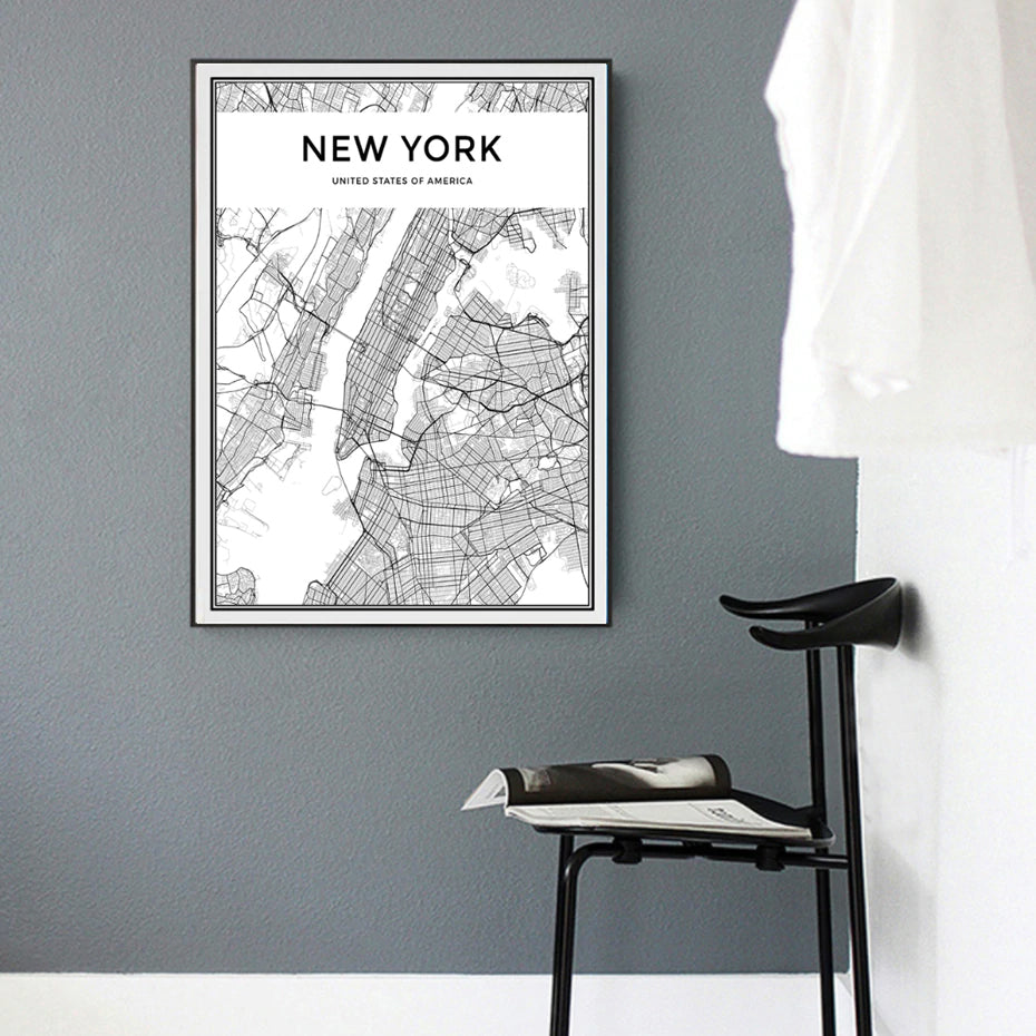 BLACK AND WHITE NEW YORK CITY PRINTS CANVAS WALL ART PICTURES HOME OFFICE PHOTOS