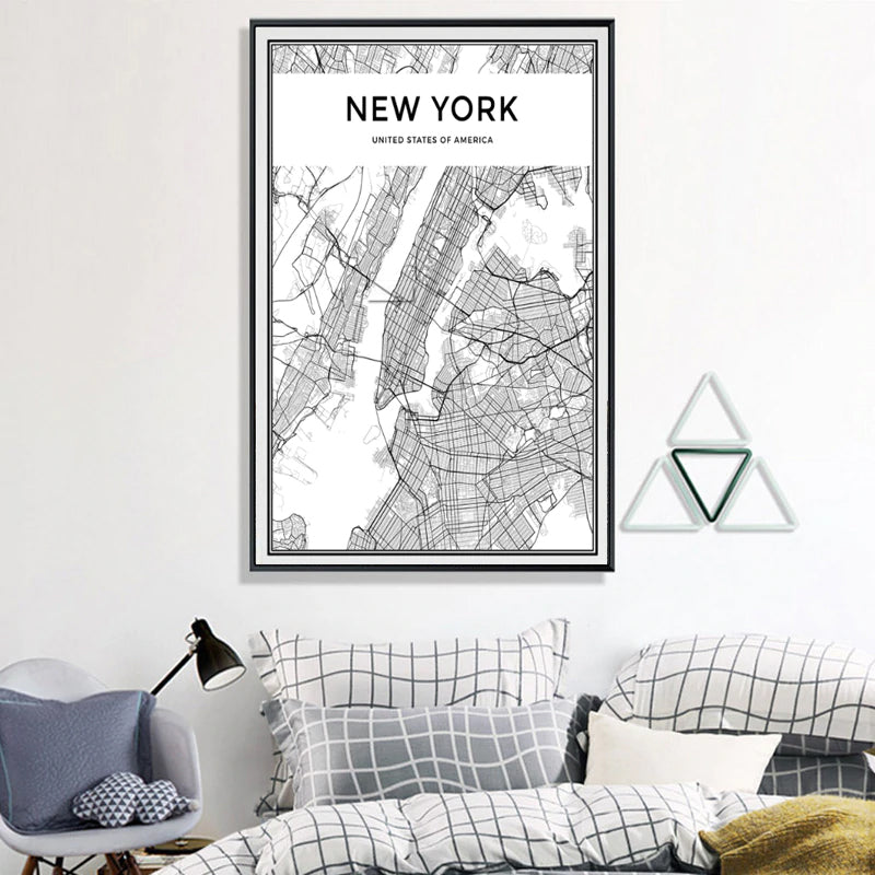 NEW YORK City Map Poster Minimalist Black & White Abstract NYC Wall Art Canvas Prints For Office, Condo or Living Room Modern Home Decor
