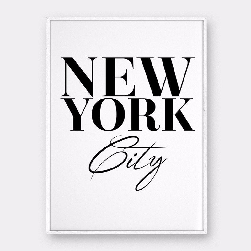 NEW YORK Sign NYC Wall Art Canvas Poster Minimalist Interior Design Painting For Salons Boutiques and Bedroom Home Decor