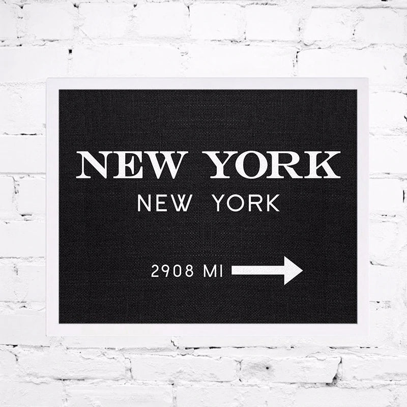 NYC Signpost New York Wall Art Canvas Fashion Poster Minimalist Art Interior Design Painting For Modern Living Room Home Decor