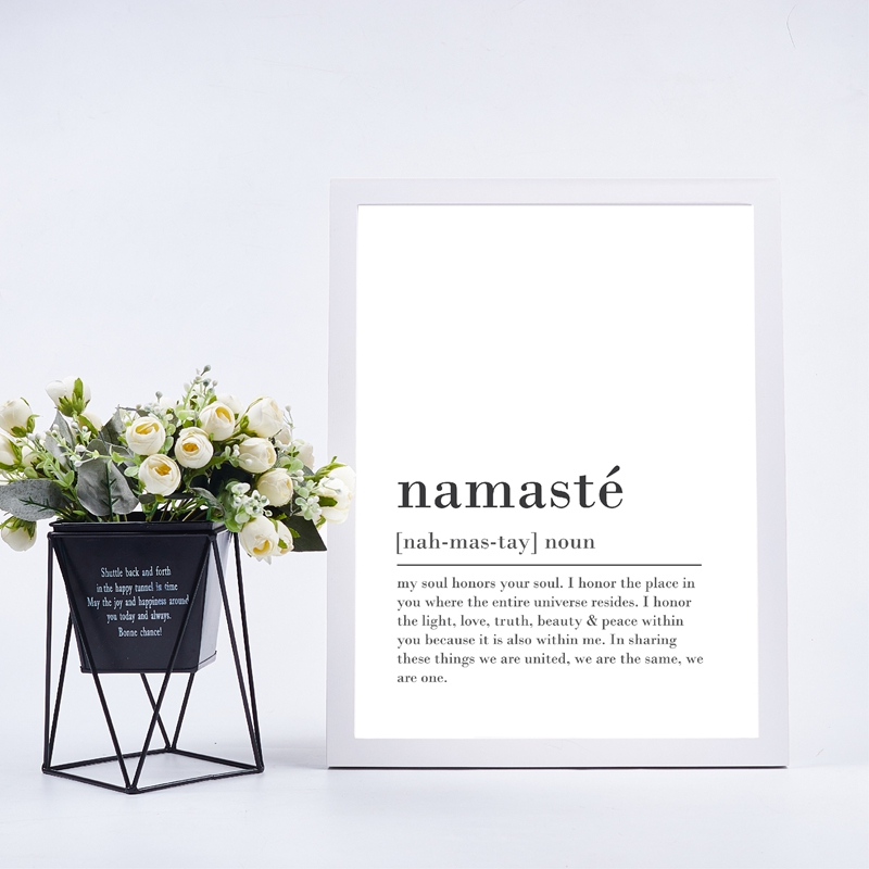Namaste Definition Poster Inspirational Zen Wall Art Black And White Fine Art Canvas Prints Quotations For Yoga Studio Meditation Bedroom Wall Art Decor