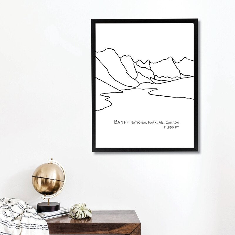 National Park Landscape Wall Art Black White Fine Art Canvas Print Minimalist Picture For Living Room Dining Room Picture For Home Office Interior Decor