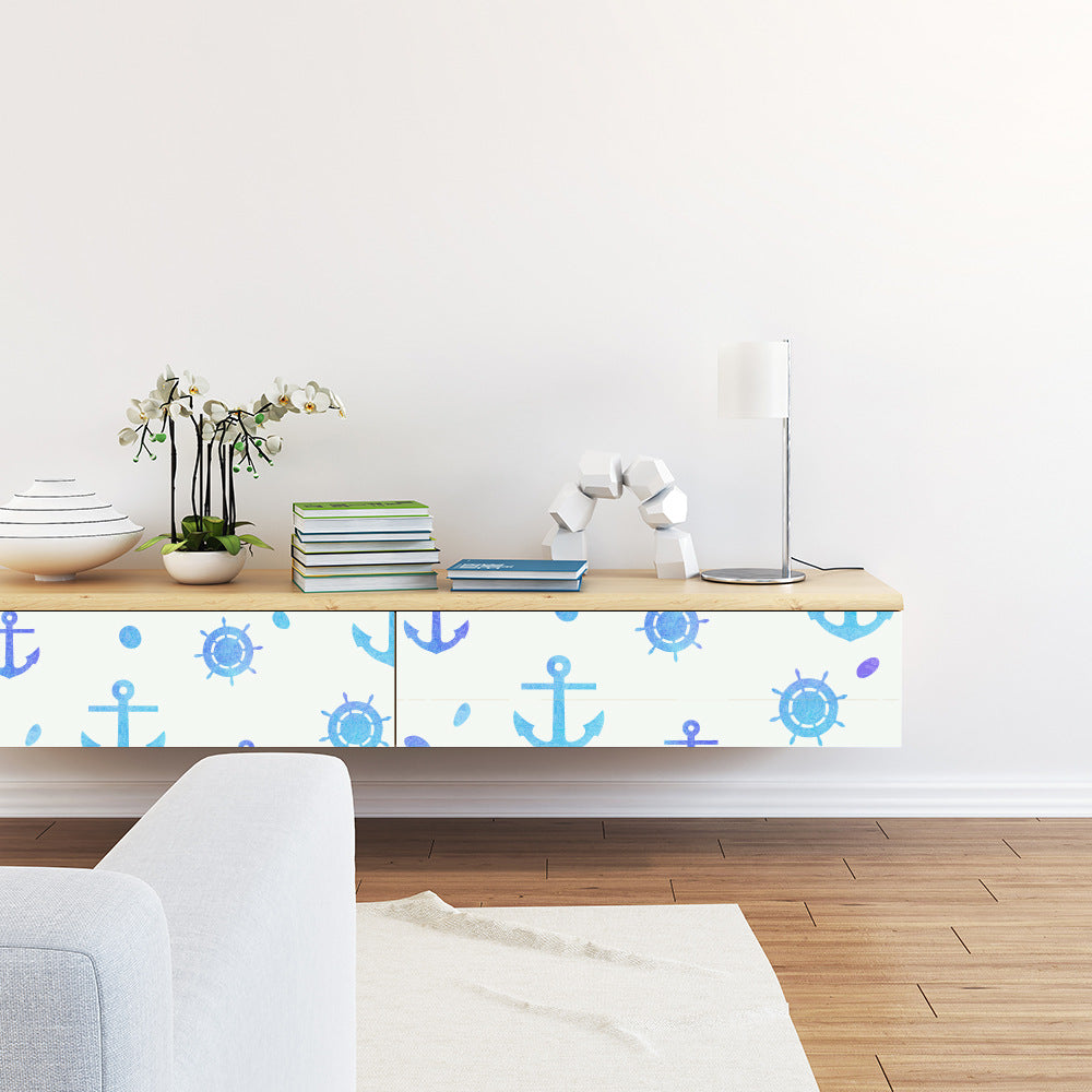 Nautical Blue Themed Vinyl Wall Mural Self Adhesive PVC Wallpaper Peel & Stick Covering For Furniture Cabinets Surfaces Creative DIY For Boys Bedroom Decor