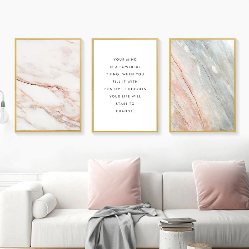 Neutral Colors Nordic Marble Wall Art Simple Quote Your Mind Is A Powerful Thing Inspirational Quotations Posters Fine Art Canvas Prints
