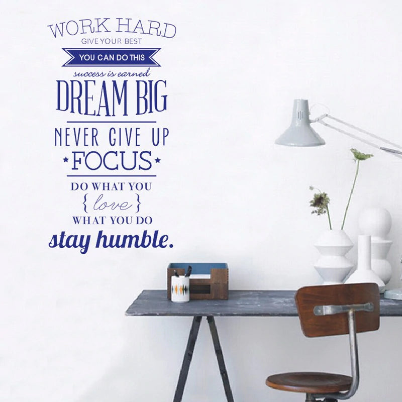 Never Give Up Inspirational Quotes Wall Art Vinyl Mural Decal Modern Motivational Poster for Office Living Room Home Decor