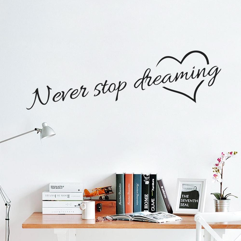 Never Stop Dreaming Wall Decal Inspirational Bedtime Quotes Removable Decorative DIY Wall Art Stickers For Kids Room Bedroom Wall Decor