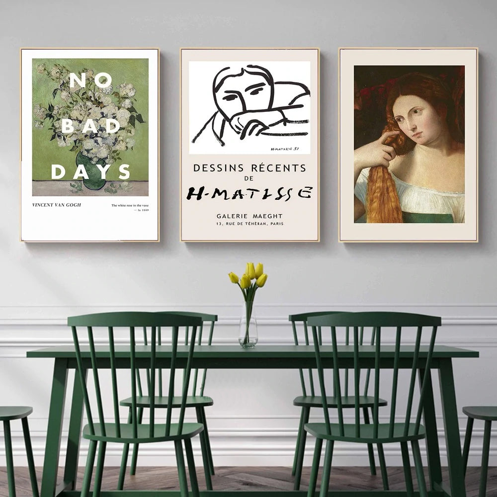 No Bad Days Vincent Van Gogh Gallery Wall Art Retro Abstract Matisse Vintage Classics Fine Art Canvas Prints Contemporary Nordic Home Decor