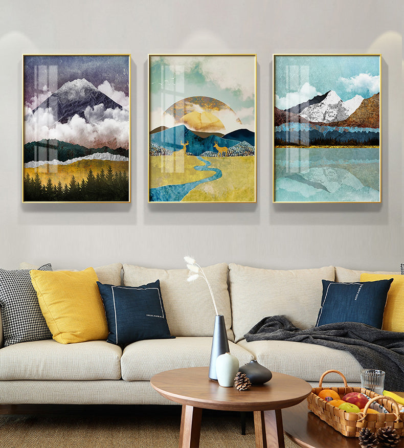 Nordic Abstract Golden Sunrise Wall Art Mountain Wilderness Landscape Fine Art Canvas Prints For Contemporary Home Living Room Wall Decor
