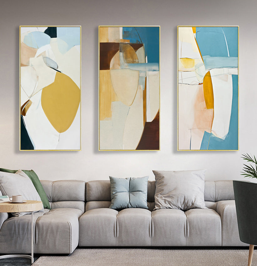 Nordic Abstract Oblong Vertical Wall Art Colorful Subdued Summer Hues Fine Art Canvas Prints Scandinavian Style Modern Home Interior Decor