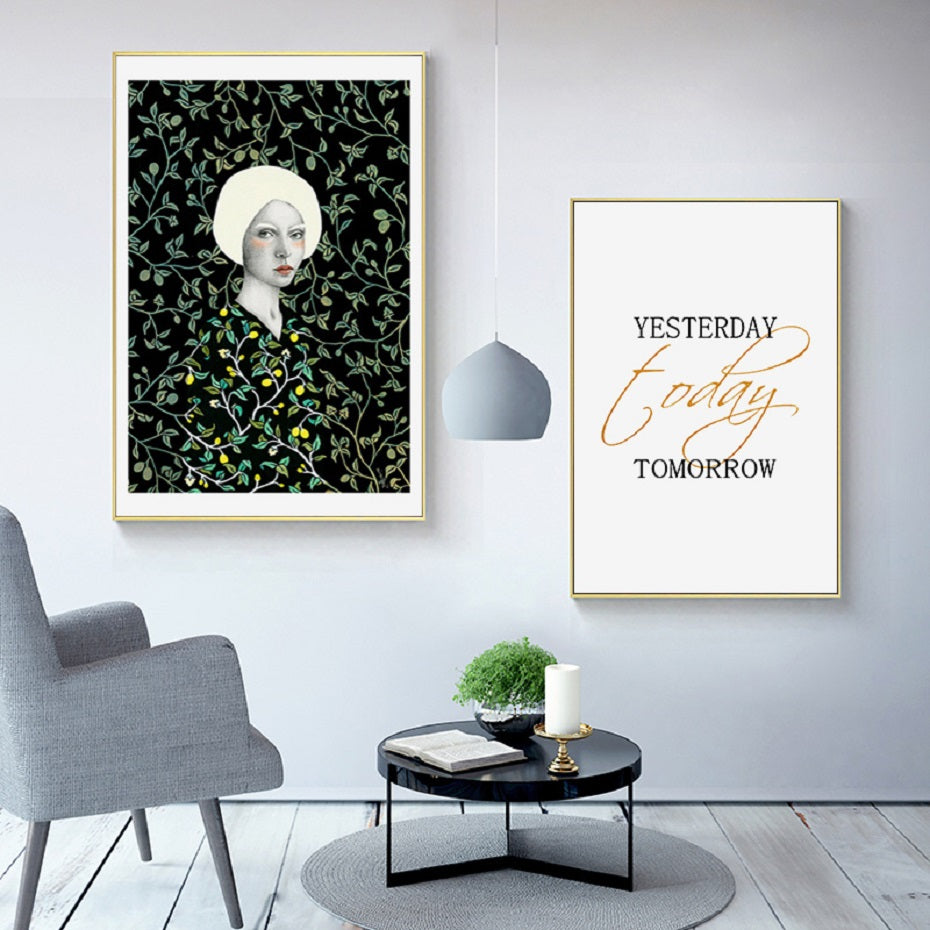 Nordic Abstract Vintage Fashion Print Floral Figure Art Inspirational Quotation Poster POP Art Wall Pictures For Modern Home Interior Decor