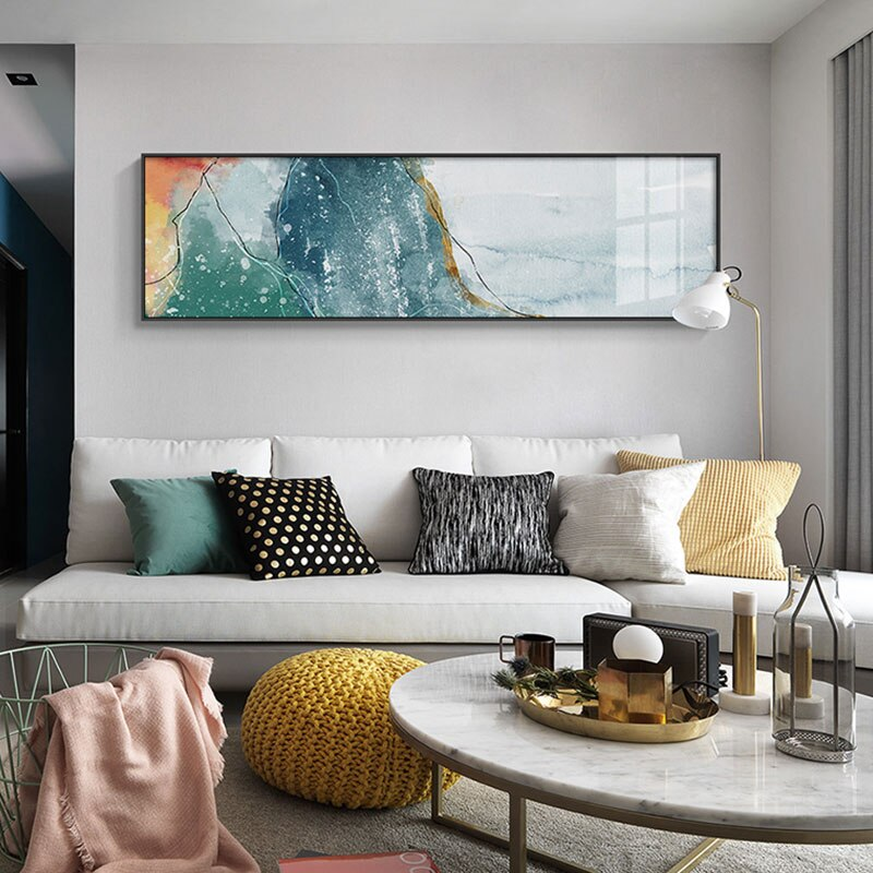 Nordic Abstract Wide Format Wall Art Fine Art Canvas Print Watercolor Giclee Print Modern Pictures For Living Room Above Sofa Wall Art Decoration