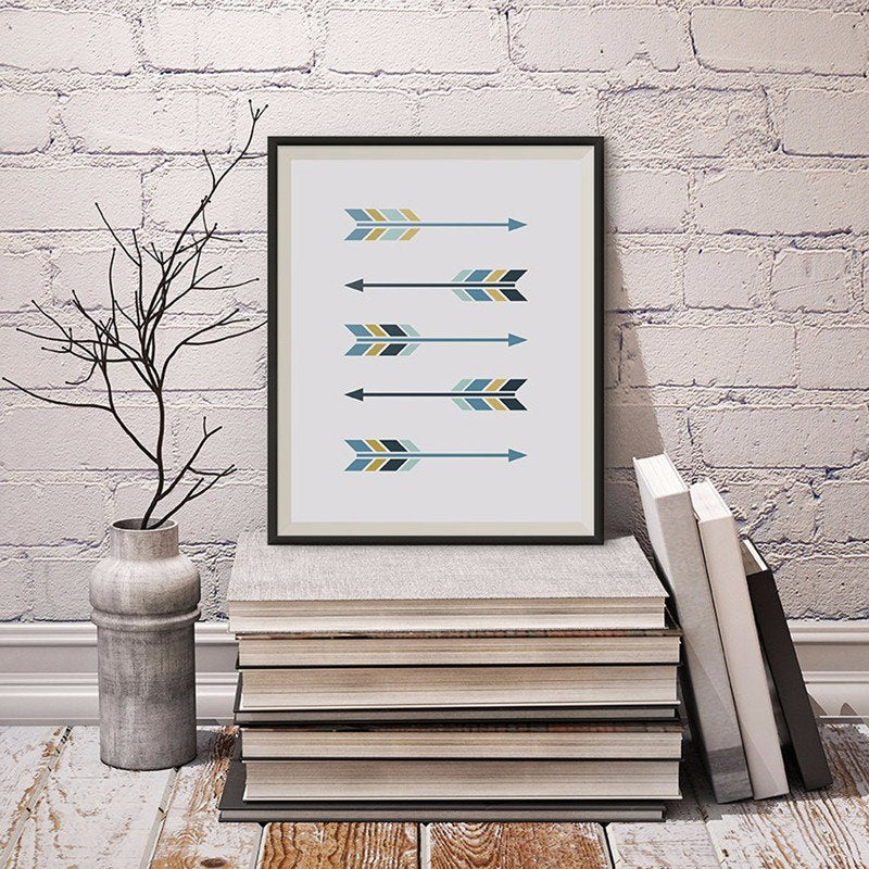 Nordic Arrows Modern Abstract Norwegian Wall Art Posters Colorful Symmetrical Sign Art Paintings For Modern Home Interiors