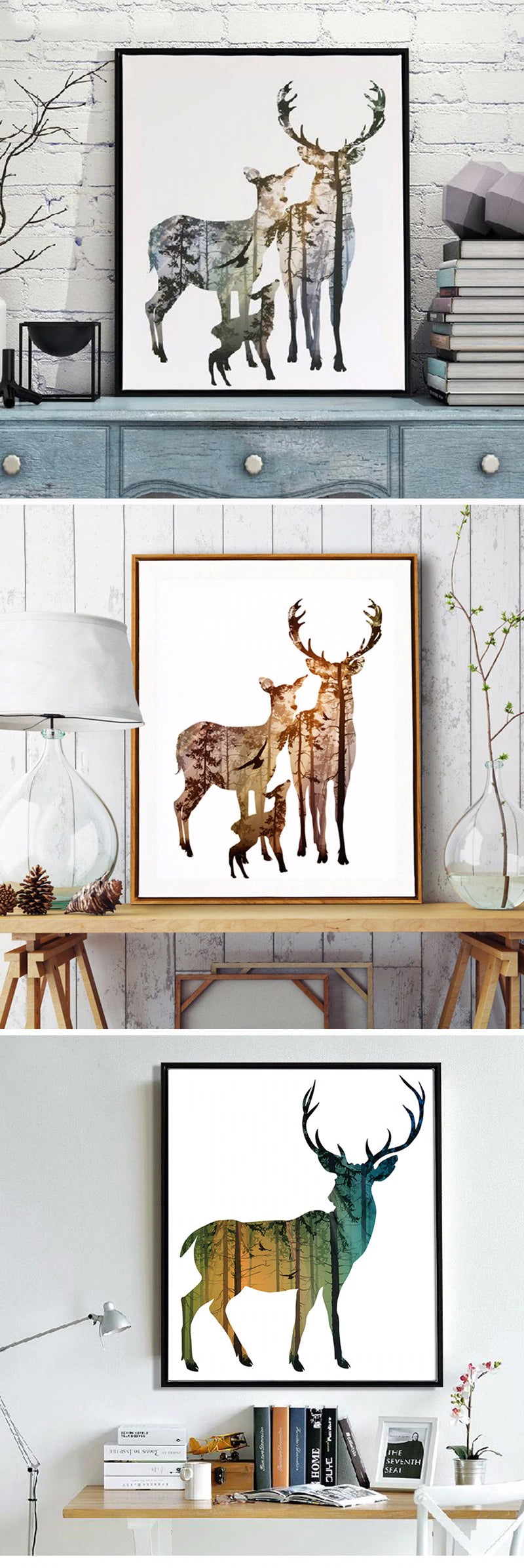 Nordic Art Forest Nature Animals Wall Art Canvas Paintings Modern Colorful Natural Pictures For Living Room Bathroom Decor