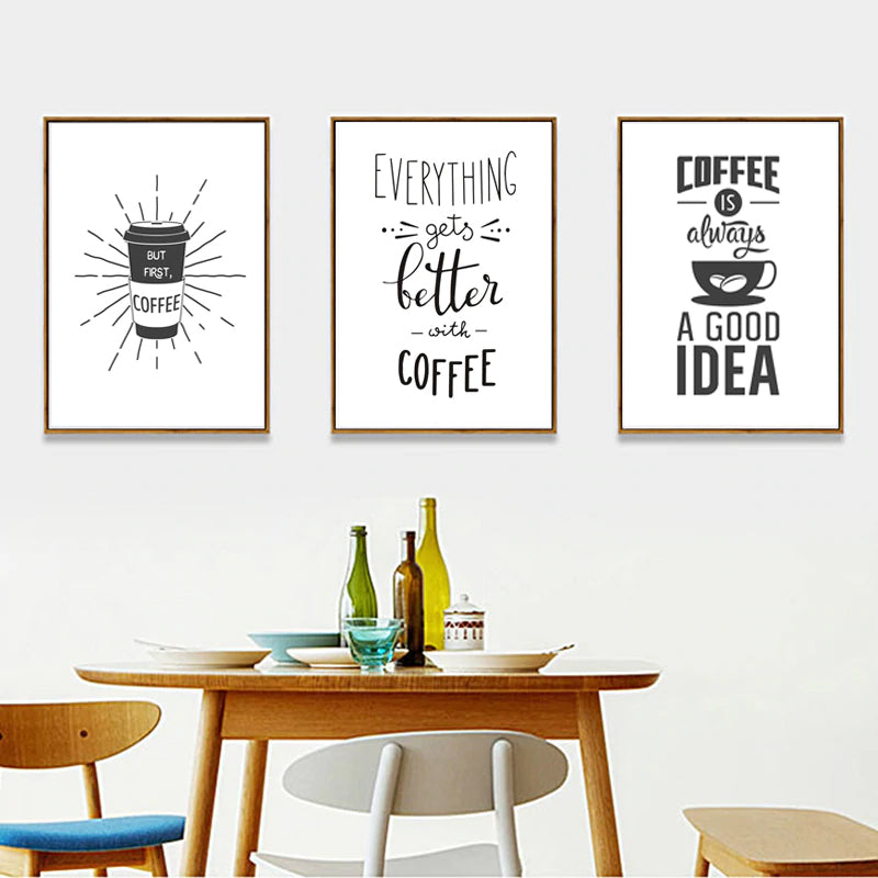Nordic Cafe Art Coffee Themed Posters Minimalist Black And White