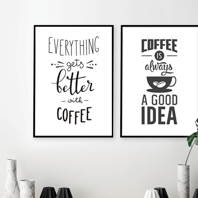Nordic Cafe Art Coffee Themed Posters Minimalist Black And White Canva Nordicwallart Com