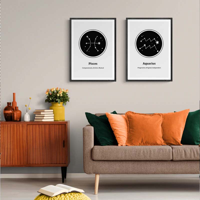 Horoscope Star Signs Wall Art Fine Art Canvas Prints Minimalist Black White Zodiac Constellation Posters Pictures For Bedroom Living Room Home Decor