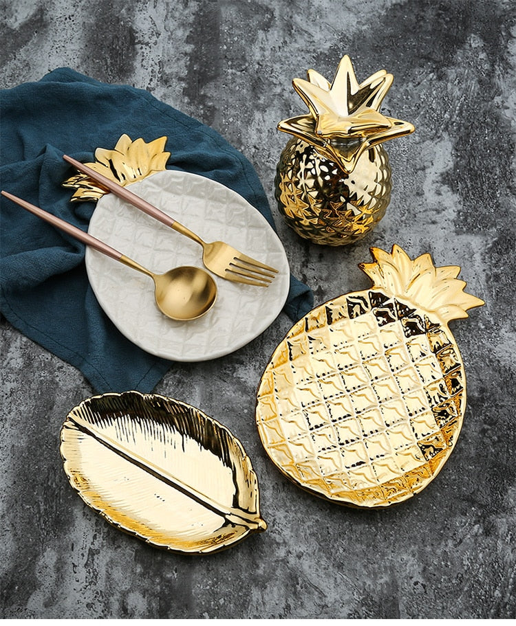 Nordic Chic Ceramic Jewelry Vanity Trays Pineapple Trinket Dish Bathroom Organizer Girls Women Bridesmaid Gifts Nordic Style Gold Home Decor