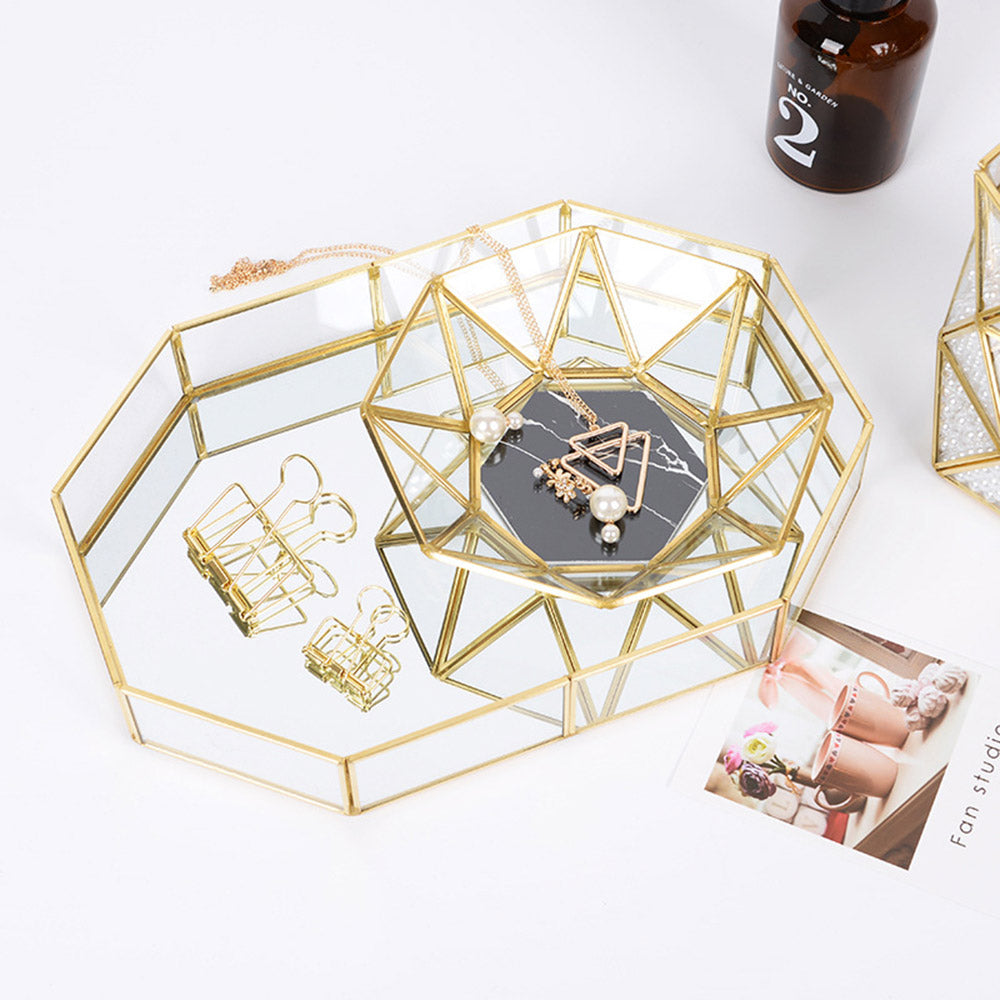 Nordic Chic Geometric Glass Gold And Trays Simplicity Decor Copper Framed Glass Boxes For Storing Jewelry Makeup Cactus Pots Notes Stationary etc