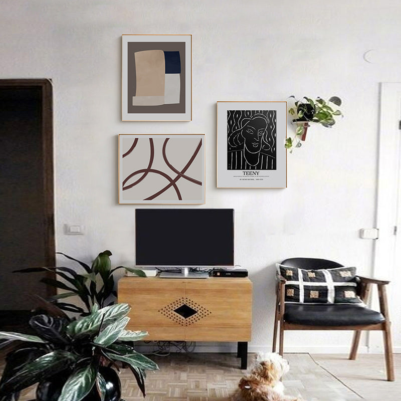An Industrial Home With Warm Hues: Nordic Contemporary Abstract Wall Art Posters Minimalist