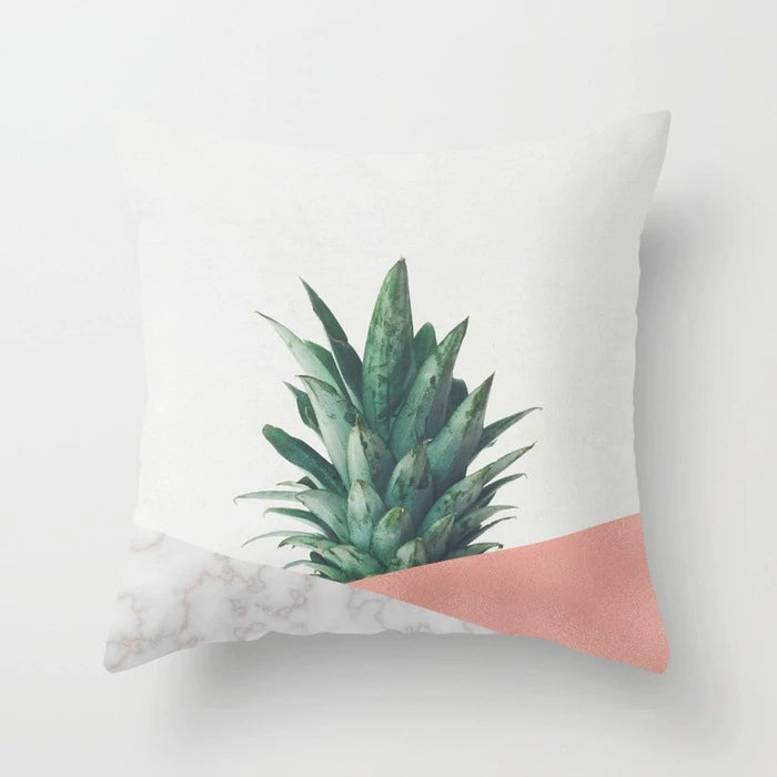 Nordic Decor Cushion Covers Pink Geometric Tropic Pineapple Marble Pillow Cover 45x45cm Polyester Cushion Case Sofa Bed Decorative Pillow
