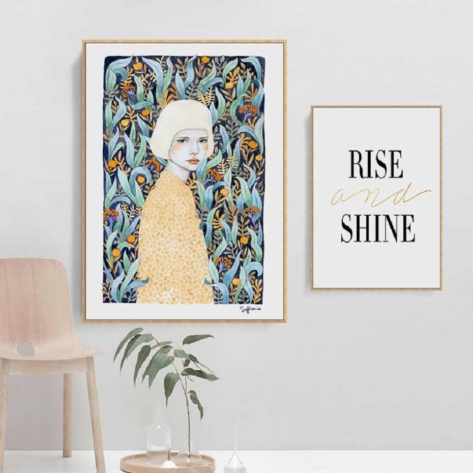 Nordic Fashion Print Floral Figure Art Inspirational Quotation Rise And Shine Poster POP Art Wall Pictures For Modern Home Interior Decoration