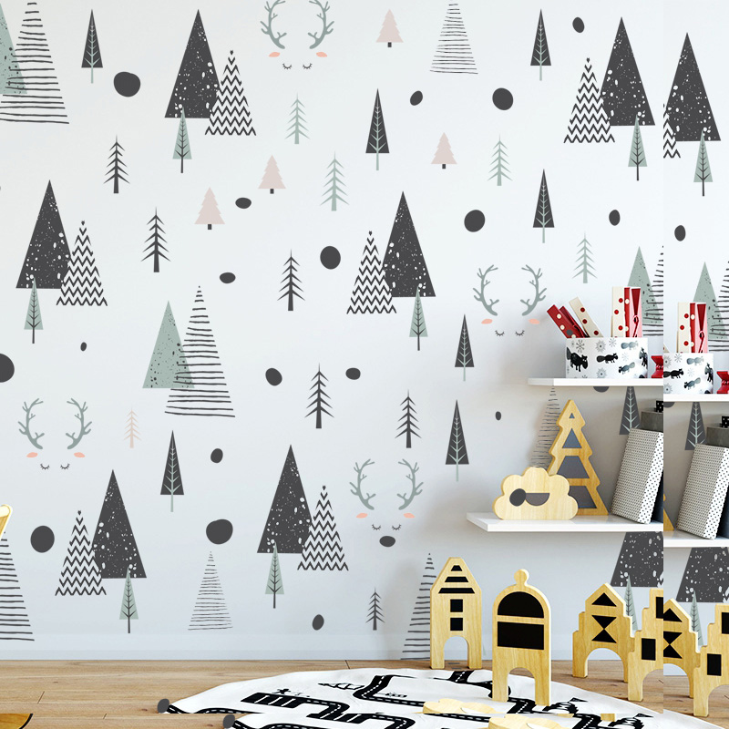 Nordic Forest Deer Wall Decals For Kids Room Modern Creative DIY Nursery Decor Woodland Trees Wall Art PVC Stickers For Kindergarten Classroom