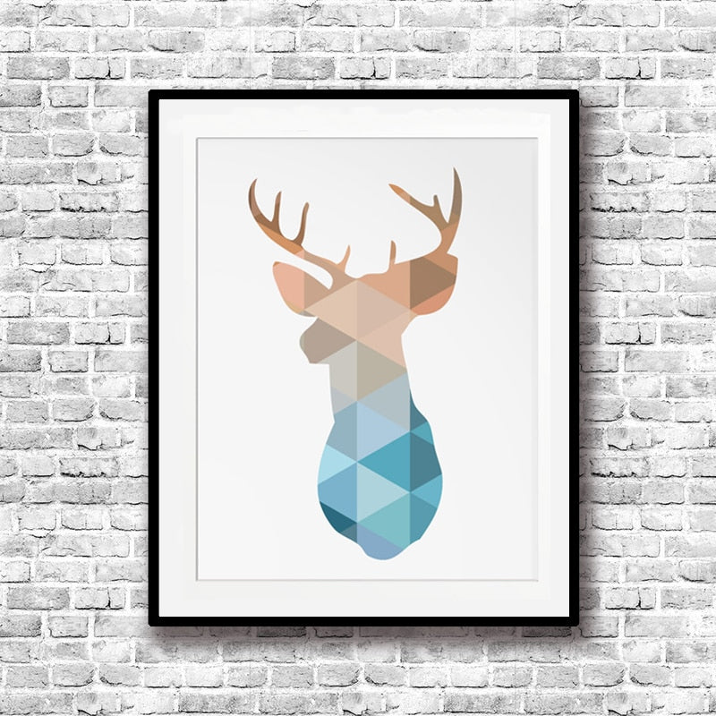 Nordic Geometric Deer Canvas Poster Abstract Wall Art Animal Print Pictures for Kids Room Decor