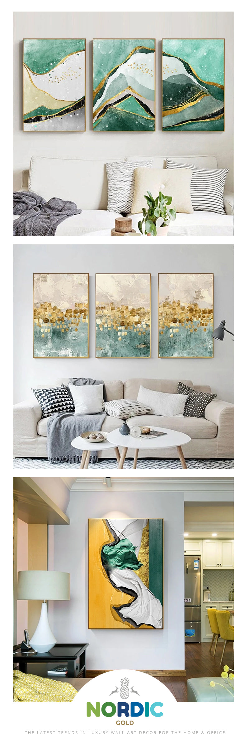 Modern Abstract Golden Green Marble Wall Art Contemporary Nordic Fine Art Canvas Prints Nordicwallart Com