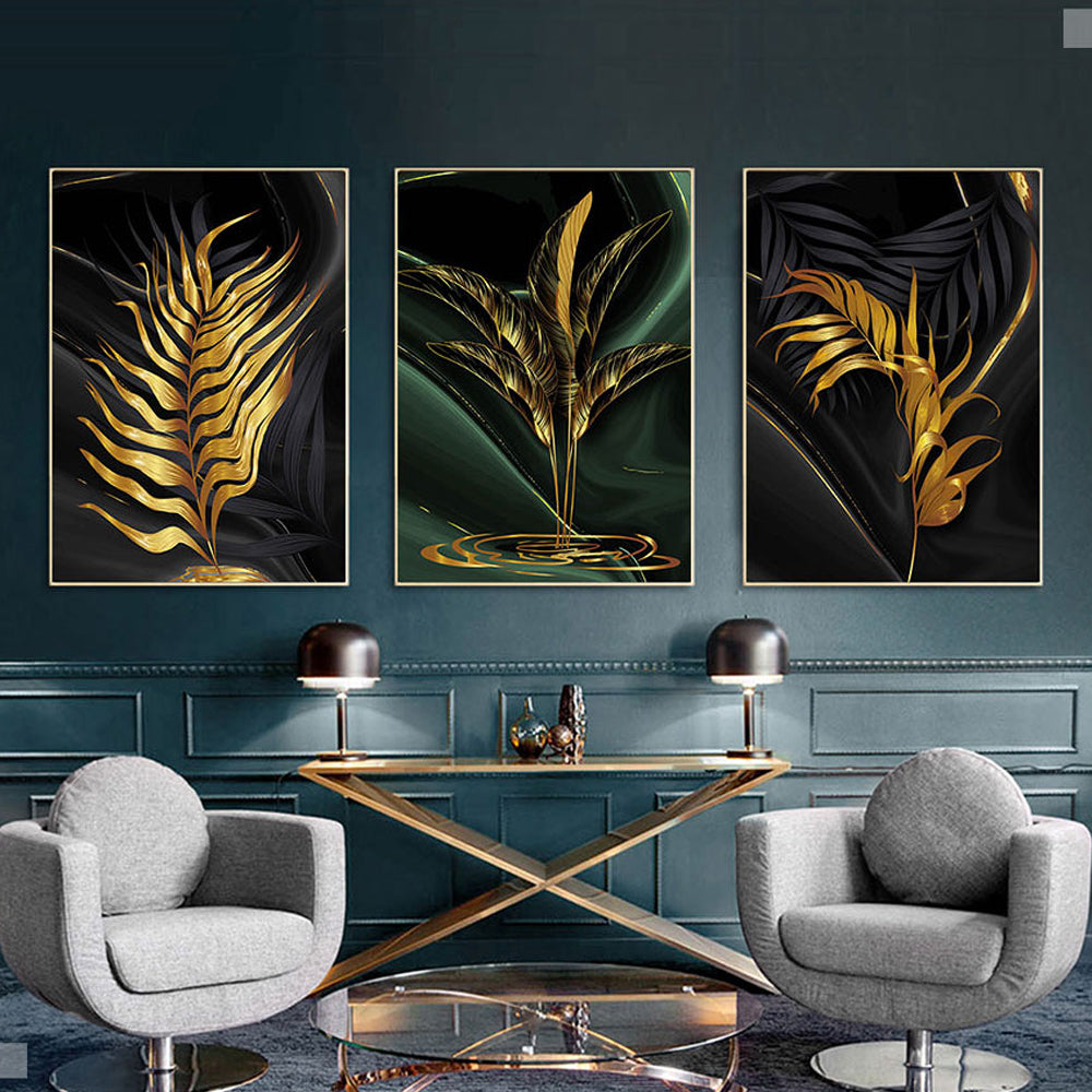 Nordic Golden Palms Tropical Wall Art Stylish Fine Art Canvas Prints Exotic Paintings For Loft Living Room Home Office Luxury Lifestyle Modern Interior Decor