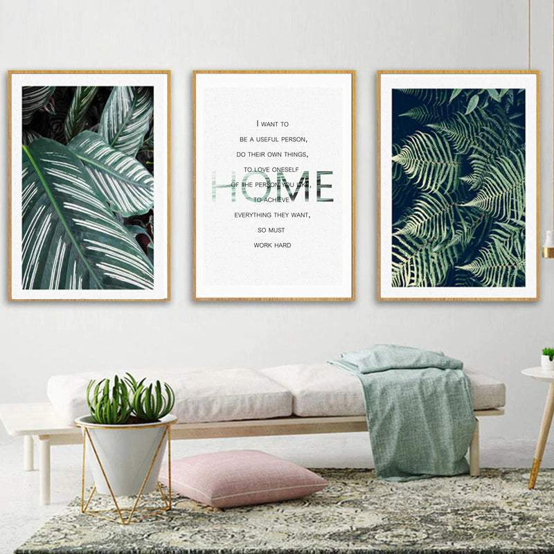 Nordic Green Leaves Tropical Botany Wall Art Inspirational Daily Affirmation Quote Fine Art Canvas Prints Scandinavian Style Home Decor